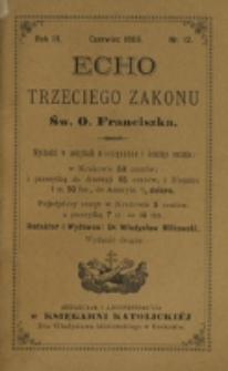 Echo Trzeciego Zakonu Św. o. Franciszka. R. 3, nr 12 (1886)