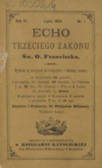 Echo Trzeciego Zakonu Św. o. Franciszka. R. 4, nr 1 (1886)