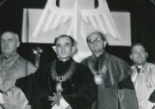 Inauguracja roku akad. 1969/70 : Senat akademicki: od lewej: ks. W. Poplatek, ks. J. Rybczyk - dziekan Wydz. Prawa Kanon., prof. J. Kłoczowski, dziekan Wydz. Nauk Hum. i ks. B. Kumor - prodziekan Wydz. Teolog.