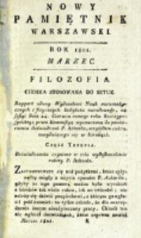 Nowy Pamiętnik Warszawski : [dziennik historyczny, polityczny, tudzież nauk i umiejętności]. T. 1 (marzec 1801)
