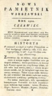 Nowy Pamiętnik Warszawski : [dziennik historyczny, polityczny, tudzież nauk i umiejętności]. T. 2 (czerwiec 1801)