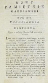 Nowy Pamiętnik Warszawski : [dziennik historyczny, polityczny, tudzież nauk i umiejętności]. T. 4 (październik 1801)