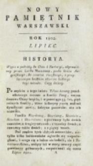 Nowy Pamiętnik Warszawski : [dziennik historyczny, polityczny, tudzież nauk i umiejętności]. T. 7 (lipiec 1802)