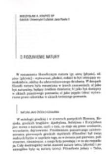 O rozumienie natury / Mieczysław A. Krąpiec.