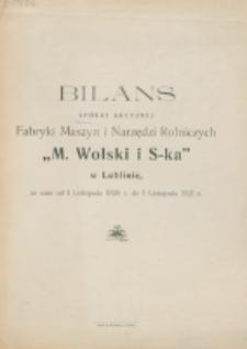 """Bilans Spółki Akcyjnej Fabryki Maszyn i Narzędzi Rolniczych """"M. Wolski i S-ka"""" w Lublinie za czas od 1 listopada1920 do 1 listopada 1921 R."""