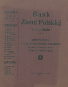Sprawozdanie z Czwartego Okresu Czynności od dnia 1 stycznia 1922 r. do dnia 31 grudnia 1922 r.