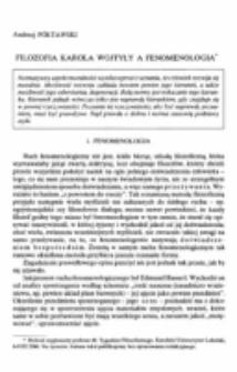 Filozofia Karola Wojtyły a fenomenologia.
