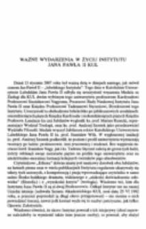 Ważne wydarzenia w życiu Instytutu Jana Pawła II KUL.