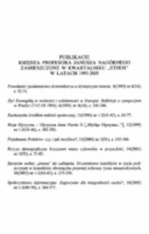 """Publikacje Księdza Profesora Janusza Nagórnego zamieszczone w kwartalniku """"Ethos"""" w latach 1993-2005."""