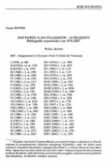 Jan Paweł II do filozofów - o filozofii. Bibliografia wypowiedzi z lat 1978-2005.