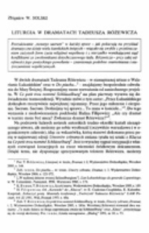 Liturgia w dramatach Tadeusza Różewicza.