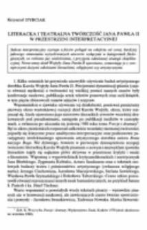 Literacka i teatralna twórczość Jana Pawła II w przestrzeni teatralnej.