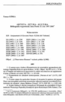 Artysta - sztuka - kultura. Bibliografia wypowiedzi Jana Pawła II z lat 1997-2005.
