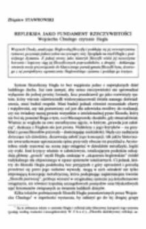 Refleksja jako fundament rzeczywistości. Wojciecha Chudego czytanie Hegla.