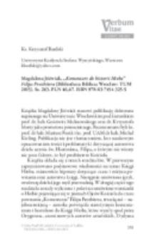 """Recenzja : Magdalena Jóźwiak, """"Komentarz do historii Hioba """"Filipa Prezbitera (Bibliotheca Biblica; Wrocław: TUM 2015). Ss. 263. PLN 46,67. ISBN 978-83-7454-325-5."""