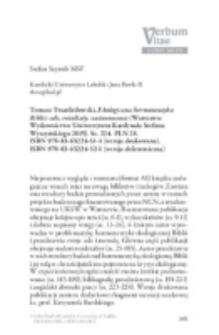 Recenzja : Tomasz Twardziłowski, Ekologiczna hermeneutyka Biblii: cele, rezultaty, zastosowania (Warszawa:Wydawnictwo Uniwersytetu Kardynała Stefana Wyszyńskiego 2015). Ss. 224. PLN 28. ISBN 978-83-65224-51-4 (wersja drukowana). ISBN 978-83-65224-52-1 (wersja elektroniczna).