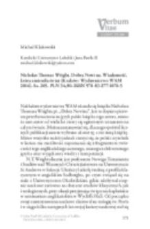 Recenzja : Nicholas Thomas Wright, Dobra Nowina. Wiadomość, która zmieniła świat (Kraków: Wydawnictwo WAM 2016). Ss. 205. PLN 34,90. ISBN 978-83-277-1076-5.