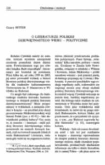 O literaturze polskiej dziewiętnastego wieku - politycznie.
