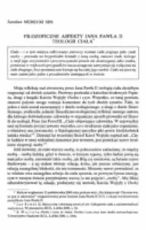 Filozoficzne aspekty Jana Pawła II teologii ciała.