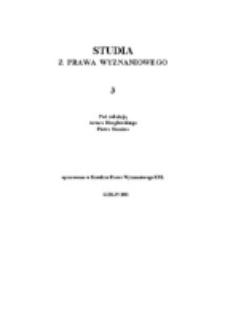 Studia z Prawa Wyznaniowego. 3 (2001). Strona tytułowa.