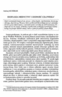 Eksplozja medycyny i godność człowieka.