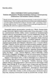 Idea uniwersytetu katolickiego. Studium dokumentów Włoskiej Katolickiej Federacji Uniwersyteckiej (Federazione Universitaria Cattolica Italiana).