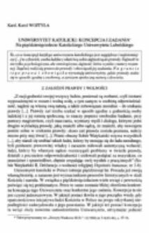 Uniwersytet katolicki : koncepcja i zadania. Na pięćdziesięciolecie Katolickiego Uniwersytetu Lubelskiego.