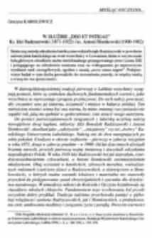 """W służbie """"Deo et Patriae"""" Ks. Idzi Radziszewski (1871-1922) i ks. Antoni Słomkowski (1900-1982)."""