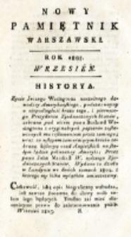 Nowy Pamiętnik Warszawski : [dziennik historyczny, polityczny, tudzież nauk i umiejętności]. T. 19 (wrzesień 1805)