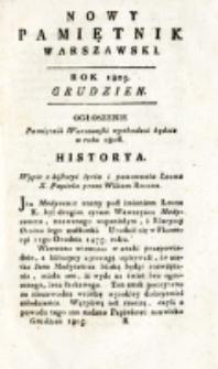 Nowy Pamiętnik Warszawski : [dziennik historyczny, polityczny, tudzież nauk i umiejętności]. T. 20 (grudzień 1805)