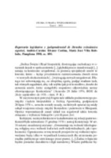 Recenzja : Repertorio legislativo y jurisprudencial de Derecho eclesiástico español, Andrés-Corsino Álvarez Cortina, María José Villa Robledo, Pamplona 1998, ss. 895.