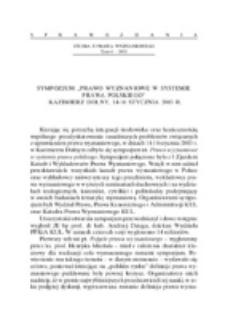 """Sympozjum """"Prawo wyznaniowe w systemie prawa polskiego"""", Kazimierz Dolny, 14-16 stycznia 2003 r."""