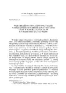 Przeobrażenia społeczno-polityczne w hiszpańskiej monarchii konstytucyjnej oraz w Kościele katolickim na przełomie XIX i XX wieku.
