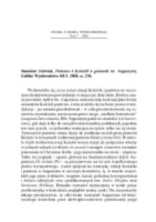 Recenzja : Stanisław Jóźwiak, Państwo i Kościół w pismach Św. Augustyna, Lublin Wydawnictwo KUL 2004, ss. 236.