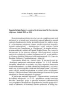 Recenzja : Eugenia Relaño Pastor, La protección internacional de las minorías religiosas, Madrid 2003, ss. 408.