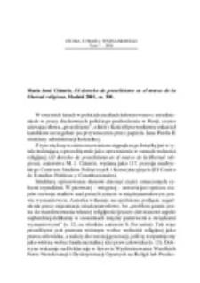 Recenzja : María José Ciáurriz, El derecho de proselitismo en el marco de la libertad religiosa, Madrid 2001, ss. 330.