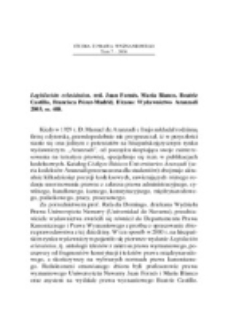 Recenzja : Legislación eclesiástica, red. Juan Fornés, María Blanco, Beatriz Castillo, Francisca Pérez-Madrid, Elcano Wydawnictwo Aranzadi 2003, ss. 448.