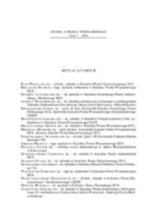 Studia z Prawa Wyznaniowego. 7 (2005). Noty o autorach.