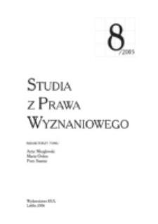 Studia z Prawa Wyznaniowego. 8 (2005). Strona tytułowa.