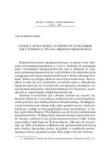 Stolica Apostolska i Państwo Watykańskie jako podmioty prawa międzynarodowego.