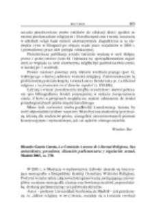 Recenzja : Ricardo García García, La Comisión Asesora de Libertad Religiosa. Sus antecedentes, precedente, discusión parlamentaria y regulación actual, Madrid 2003, ss. 270.