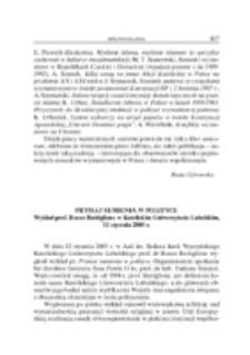 Prymat sumienia w polityce. Wykład prof. Rocco Buttiglione w Katolickim Uniwersytecie Lubelskim, 12 stycznia 2005 r.