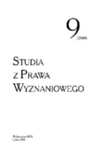 Studia z Prawa Wyznaniowego. 9 (2006). Strona tytułowa.
