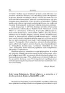 Recenzja : Javier Larena Beldarrain, La libertad religiosa y su protección en el derecho español, ed. Dykinson, Madrid 2003, ss. 227 .