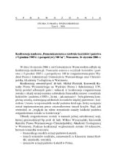 Konferencja naukowa ,.Francuska ustawa o rozdziale kościołów i państwa z 9 grudnia 1905 r. z perspektywy 100 lat, Warszawa, 16 stycznia 2006 r.