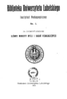 Bibljoteka Uniwersytetu Lubelskiego : Instytut Pedagogiczny. Nr 1