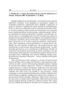 Recenzja : A. Mezglewski, A. Tunia, Wyznaniowa forma zawarcia małżeństwa cywilnego, Warszawa 2007, Wydawnictwo C.H. Beck.