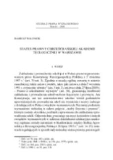 Status prawny Chrześcijańskiej Akademii Teologicznej w Warszawie.