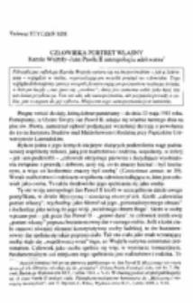 Człowieka portret własny. Karola Wojtyły - Jana Pawła II antropologia adekwatna.