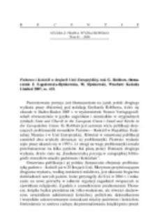 Recenzja : Państwo i kościół w krajach Unii Europejskiej, red. G. Robbers, tłum. J. Łopatowska-Rynkowska, M. Rynkowski, Wrocław Kolonia Limited 2007, ss. 435.